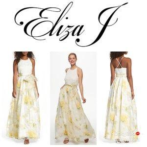 🆕️ Eliza J Lace Bodice Floral Crochet Gown